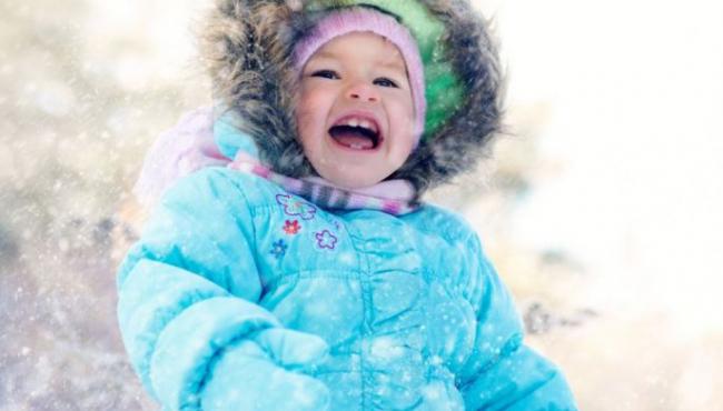 zima, kurtka, śnieg, dziecko, spacer