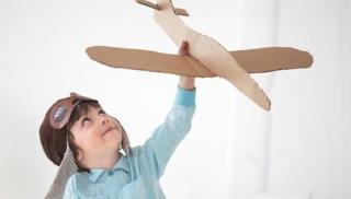 chłopiec, samolot, wyobraźnia